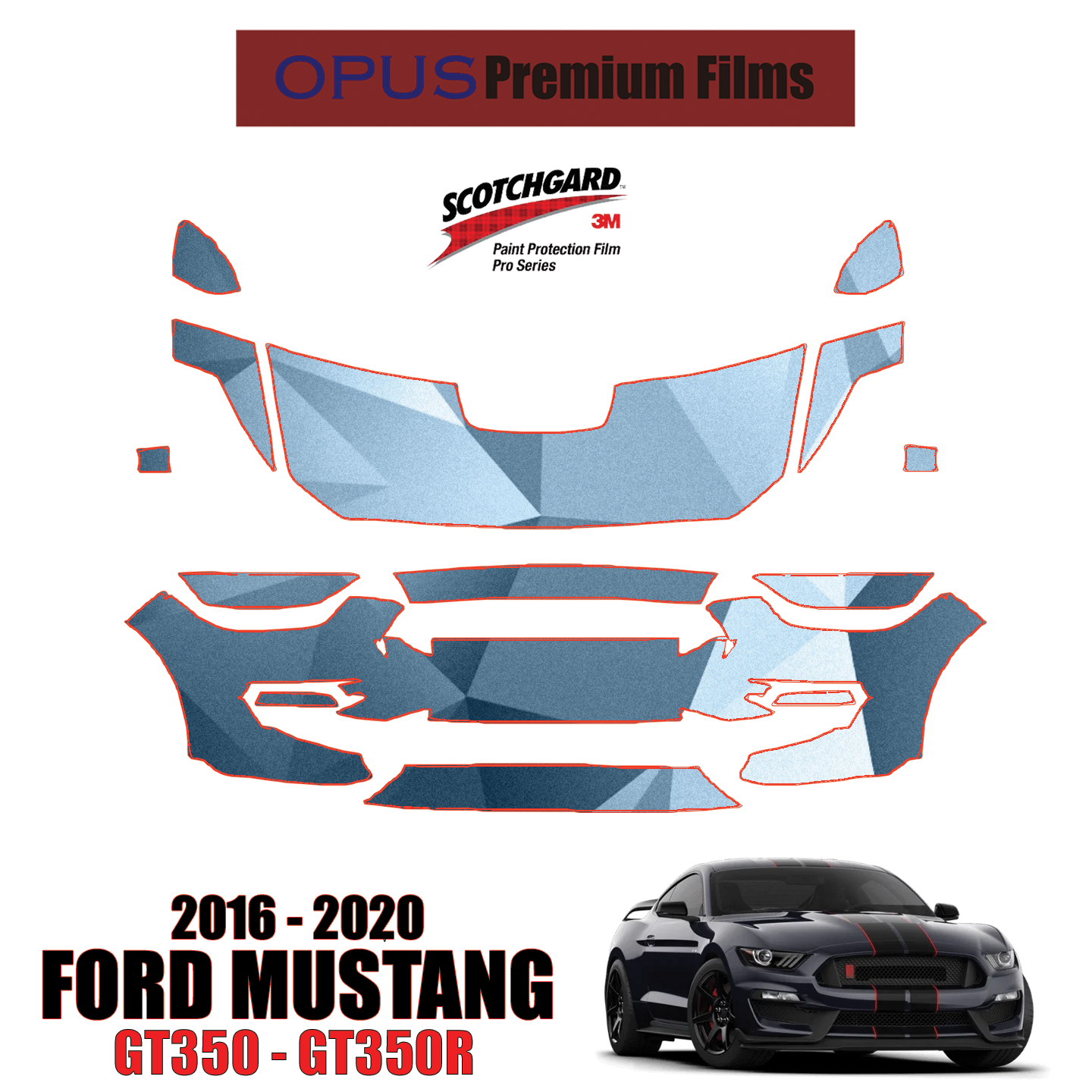 3M Scotchgard Paint Protection Film Clear Pre-Cut 2015 2016 2017 Ford Mustang